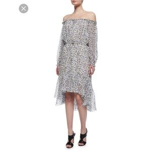 DVF Camila Silk Off Shoulder Dress